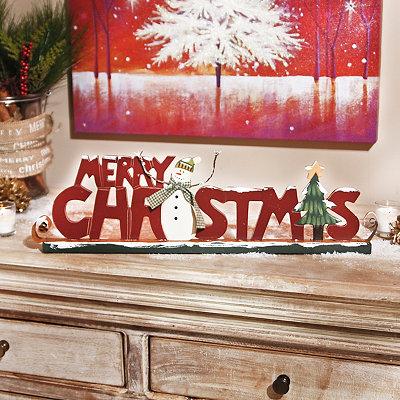 Rustic Merry Christmas Sleigh Statue