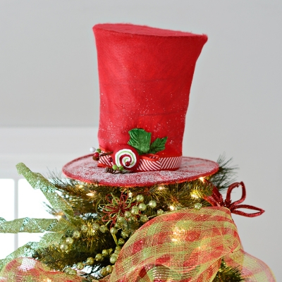 Peppermint Swirl Top Hat Tree Topper