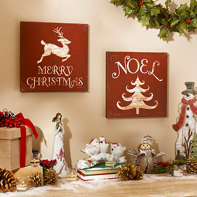 Rustic Christmas Canvas Plaques, Set of 2