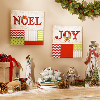 Chevron Christmas Canvas Plaques, Set of 2