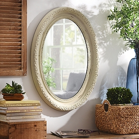 Distressed White Oval Framed Mirror, 25x34