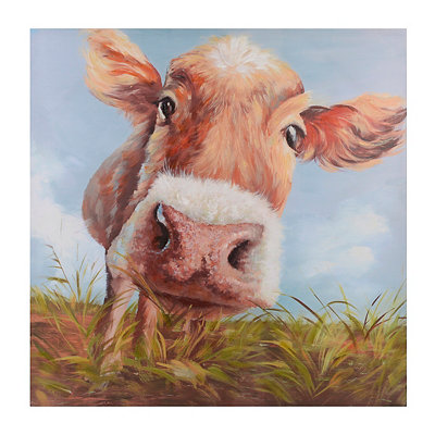 Hello Cow Canvas Art Print