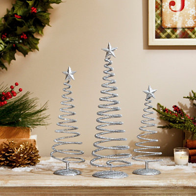 Sparkly Silver Swirl Trees, Set of 3