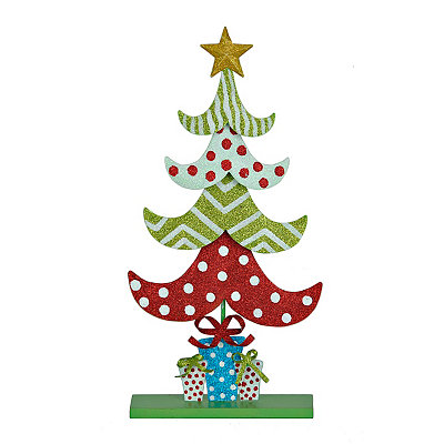 Patterned Christmas Tree Metal Statue