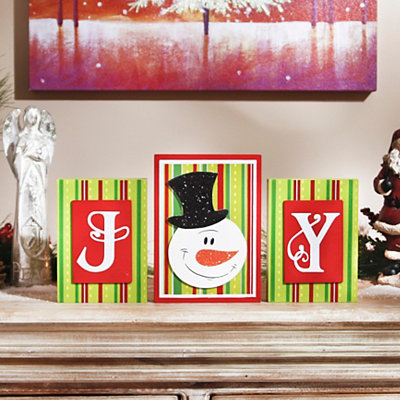 Joy Snowman Word Blocks, Set of 3
