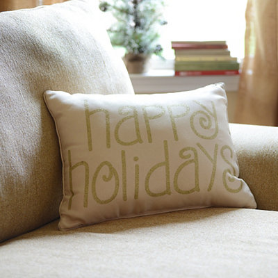 Gold Glitz Happy Holidays Pillow