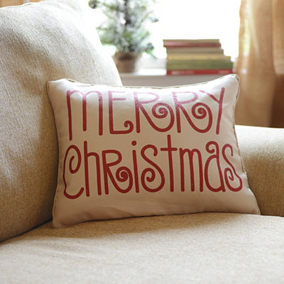 Red Glitz Merry Christmas Pillow