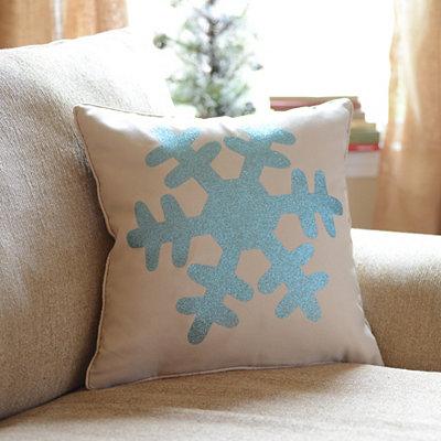 Blue Glitz Snowflake Accent Pillow