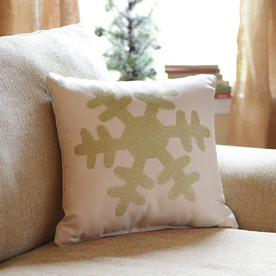 Gold Glitz Snowflake Accent Pillow