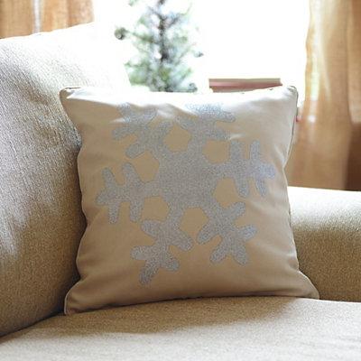 Silver Glitz Snowflake Accent Pillow