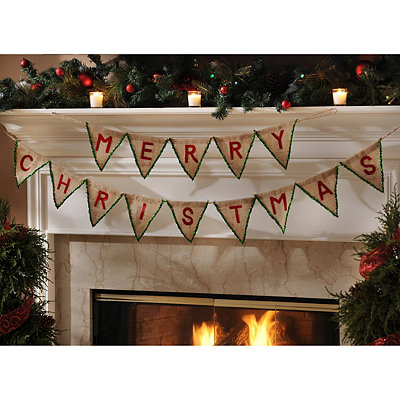 Green Merry Christmas Pennant Banner
