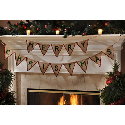 Red Merry Christmas Pennant Banner