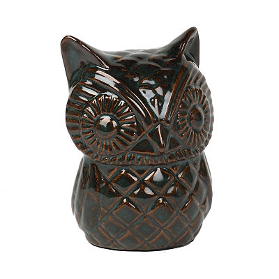 Autumn Teal Owl Statue