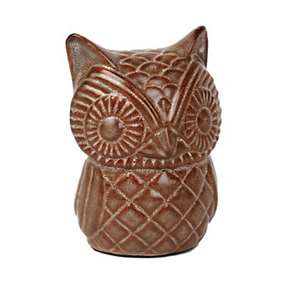 Autumn Taupe Owl Statue
