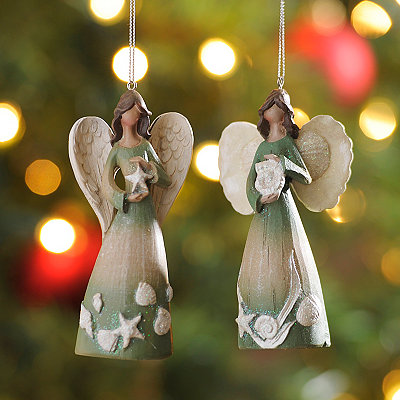 Coastal Angel Ornaments, Set of 2
