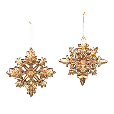 Amber Jewel Medallion Ornaments, Set of 2