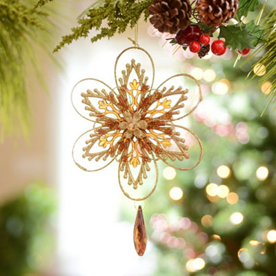 Amber Jeweled Starburst Ornament