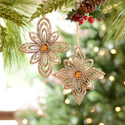 Amber Jewel Floral Medallion Ornaments, Set of 2