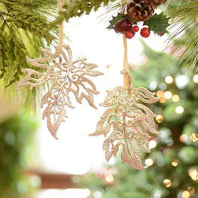 Golden Leaf Ornaments, Set of 2