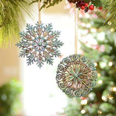 Turquoise and Gold Snowflakes, Set of 2