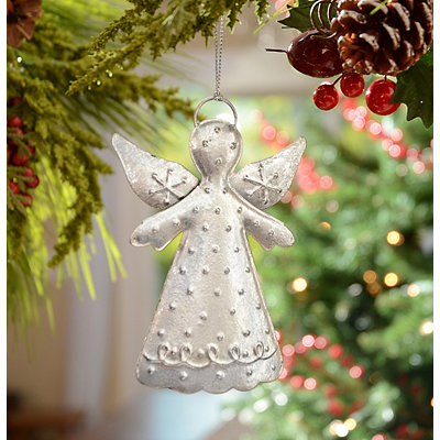Silver Hammered Tin Angel Ornament