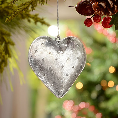 Silver Hammered Tin Heart Ornament