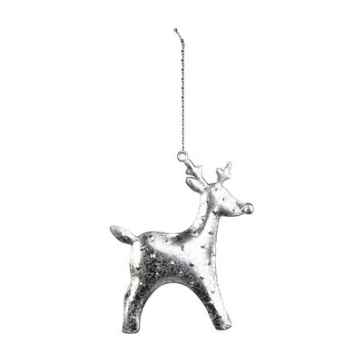 Silver Hammered Tin Reindeer Ornament