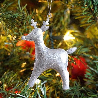Silver Hammered Tin Reindeer Ornament