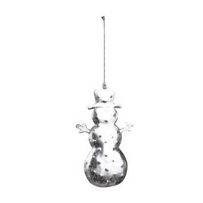 Silver Hammered Tin Snowman Ornament