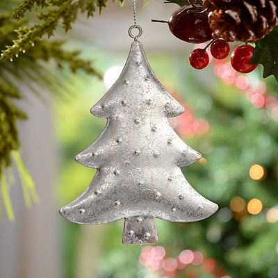 Silver Hammered Tin Tree Ornament