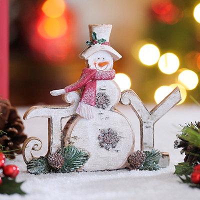 Rustic Joy Snowman Statue