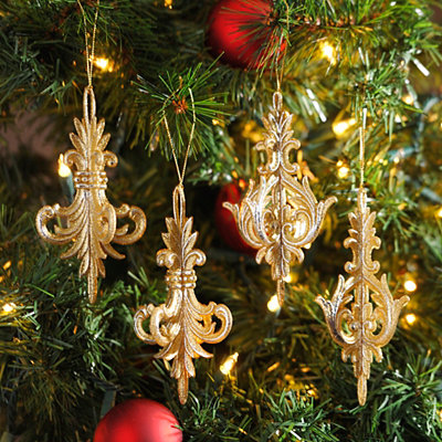 Champagne Finial Ornaments, Set of 4