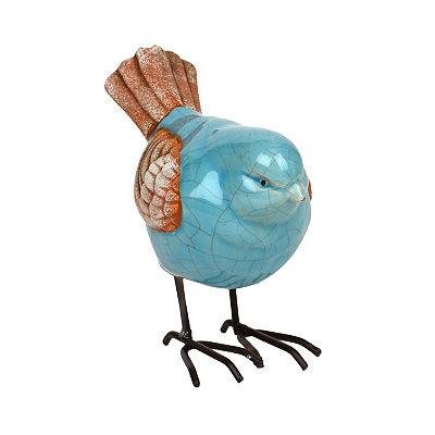 Blue Ceramic Bird Statue