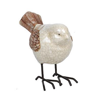 Ivory Ceramic Bird Statue