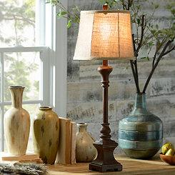 Dark Woodtone Buffet Lamp