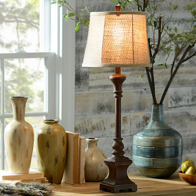 Dark Woodtone Buffet Lamp