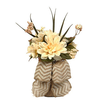 Fall Dahlia Jar Arrangement with Tan Chevron Bow