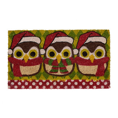 Christmas Owls Doormat