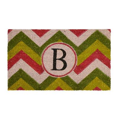 Christmas Chevron Monogram B Doormat