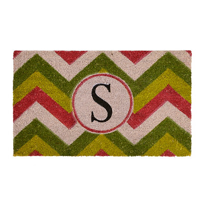 Christmas Chevron Monogram S Doormat