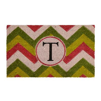 Christmas Chevron Monogram T Doormat