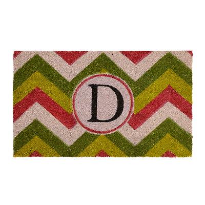 Christmas Chevron Monogram D Doormat