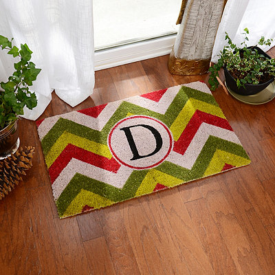 Christmas Chevron Monogram D Doormat