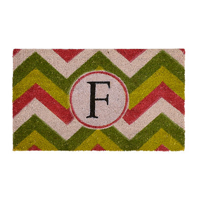 Christmas Chevron Monogram F Doormat