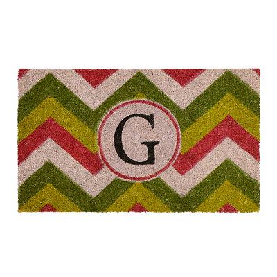Christmas Chevron Monogram G Doormat