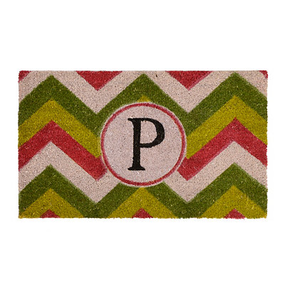 Christmas Chevron Monogram P Doormat