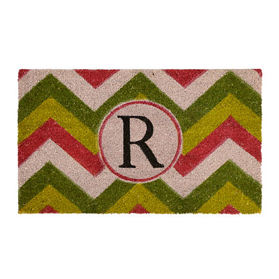 Christmas Chevron Monogram R Doormat