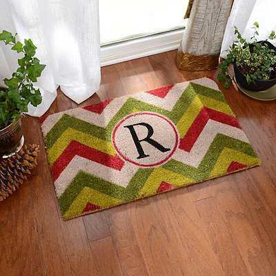 Christmas Chevron Monogram R Doormat