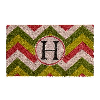 Christmas Chevron Monogram H Doormat