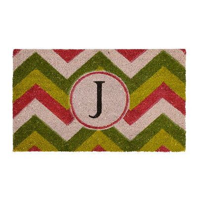 Christmas Chevron Monogram J Doormat